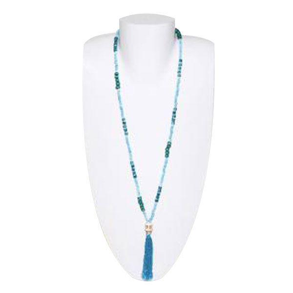 türkise/grüne Halskette aus Holzperlen mit Totenkopf und Quaste - Fair Trade