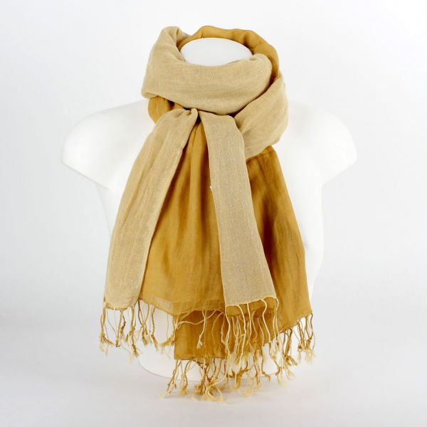 Tuch Schlauchschal Loop aus Baumwolle (2-farbig) gelb - Fairtrade