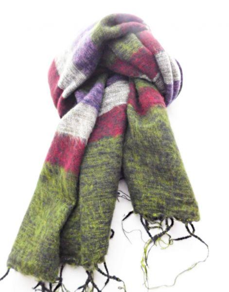 Melange-Schal gestreift lila rot grün grau - Fair Trade
