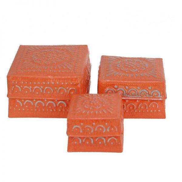 3-Set Boxen orange aus Aluminium - Fair Trade