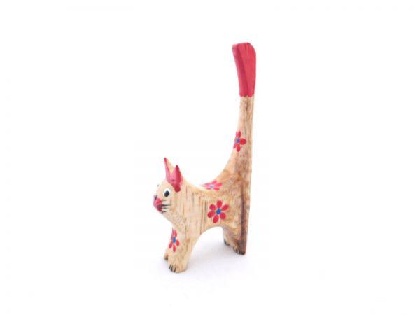 Ringhalter -rote mini Katze- aus Holz - Fair Trade