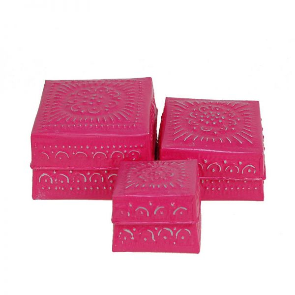 3-Set Boxen pink aus Aluminium - Fair Trade