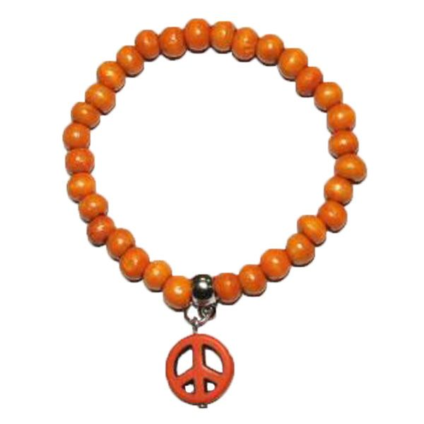 orangene Armband aus Holzperlen mit PEACE-Zeichen
