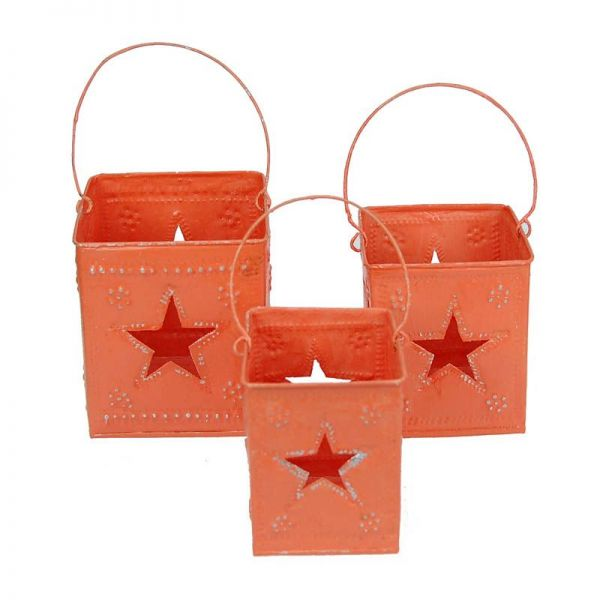 3-Set Laterne / Windlichthalter orange aus Aluminium - Fair Trade