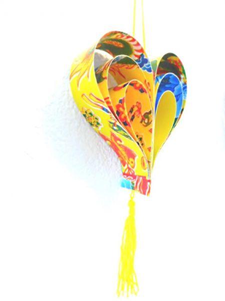 Herz-Anhänger gelb aus recyceltem Glückspapier 2D - Fair Trade