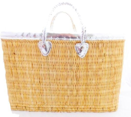 Korbtasche (L) mit silberfarbigen Griffen - Fairtrade