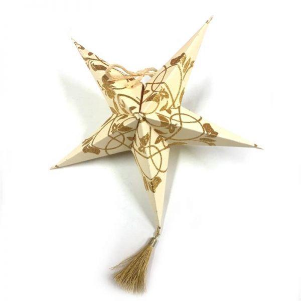 Weihnachtsstern Creme / Gold aus Papier- Fairtrade