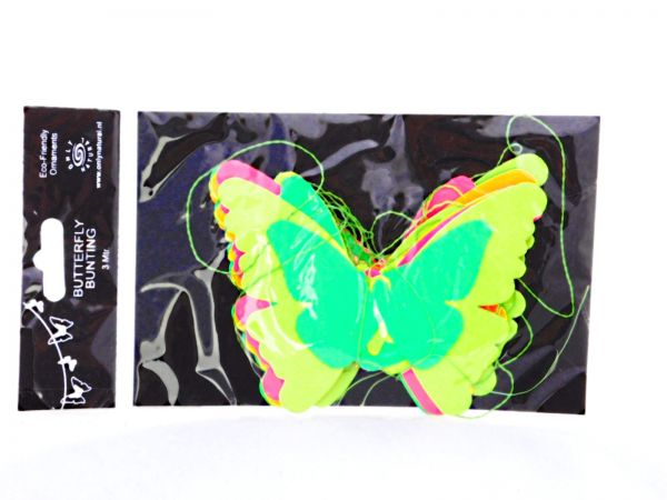 Schmetterling-Girlande aus Papier Neon-Farben - Fair Trade