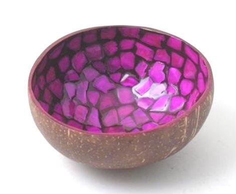 Kokosschüssel pink mosaik - Fair Trade