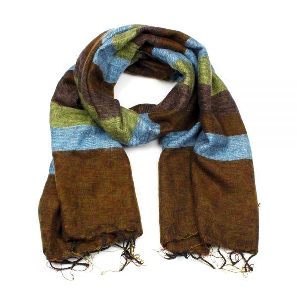 Melange-Schal gestreift türkis grün braun - Fair Trade