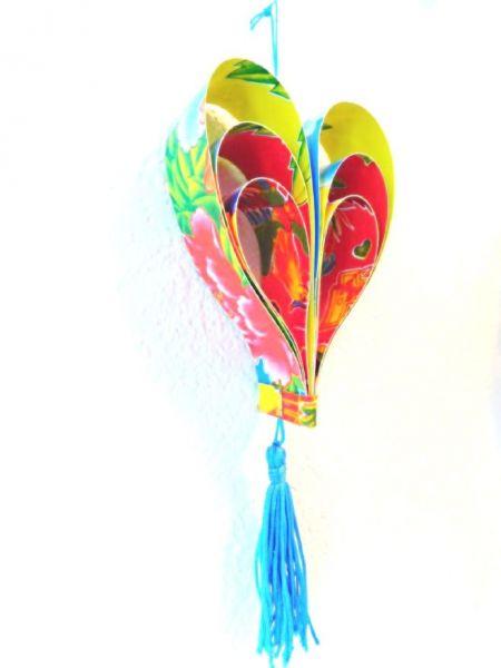 Herz-Anhänger blau aus recyceltem Glückspapier 2D - Fair Trade