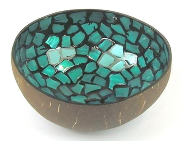 Kokosschüssel blau türkis mosaik - Fair Trade