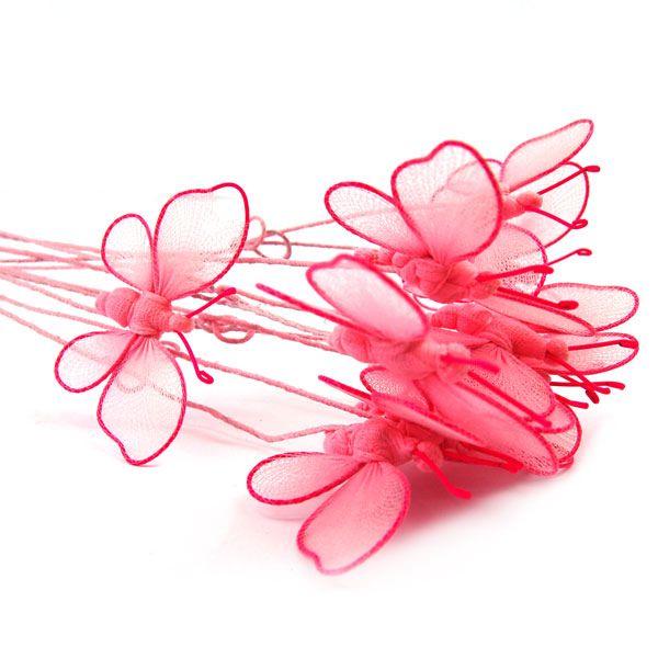 Dekoration auf einem Stäbchen - rosa Schmetterling - Fair Trade