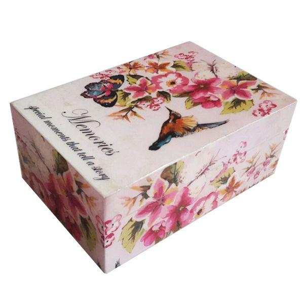 Erinnerung-Box Vogel/Schmetterling bunt mit pinken Blumen aus Holz lackiert - Fairtrade