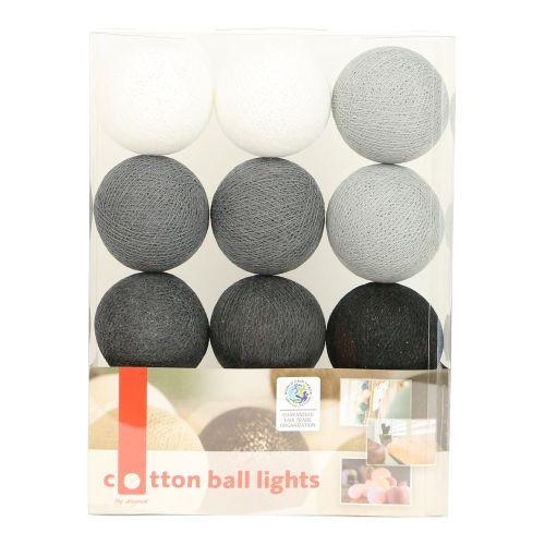 Lichterkette mit Bällen aus Baumwolle (Cotton Ball Lights) weiß, grau, anthrazit, schwarz - Fairtrad