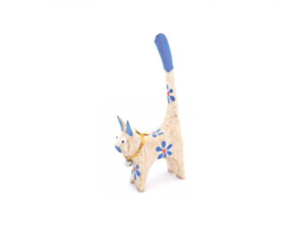 Ringhalter -blaue mini Katze- aus Holz - Fair Trade