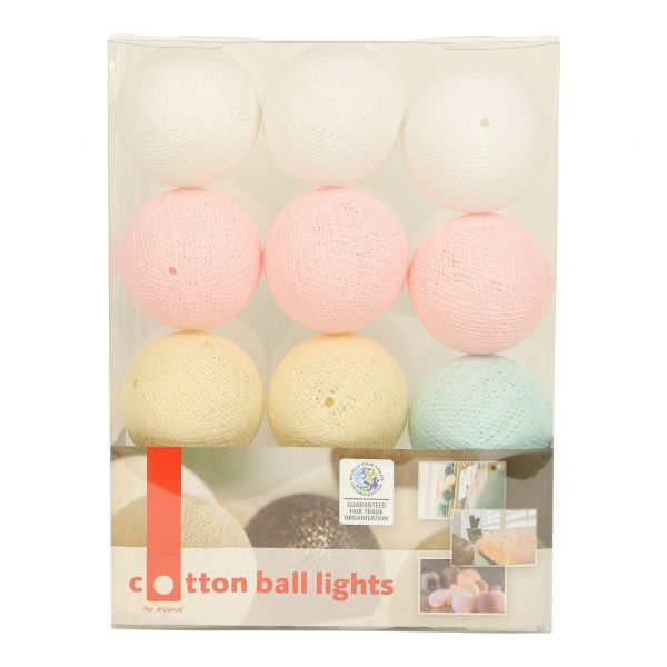 Lichterkette mit Bällen aus Baumwolle (Cotton Ball Lights) Pastelfarben - Fairtrade