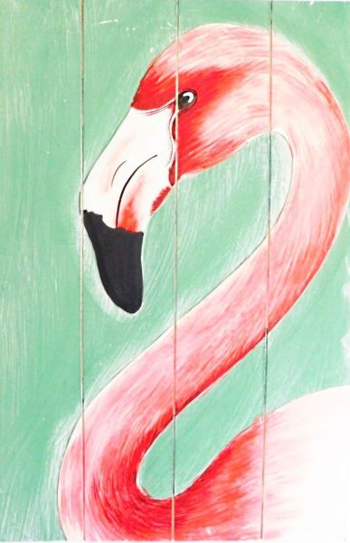 Gemälde Flamingo auf Holz -recycled (60 x 40 cm) handgemalt Kunst ein Unikat- Fairtrade