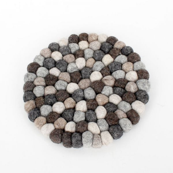 Topf-Untersetzer aus Filzkugeln Natur-grau Ø 20 cm - Fairtrade