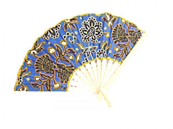 Fächer blau-gold-Muster Stoff - Fair Trade