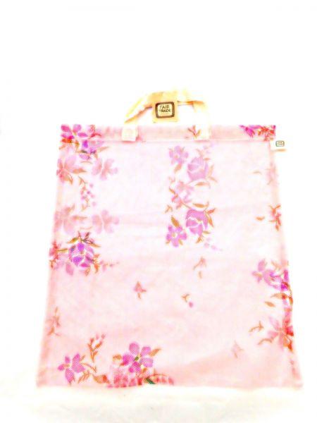 Moskitonetz-Tasche pink mit Blumen - upcycling - Fair Trade