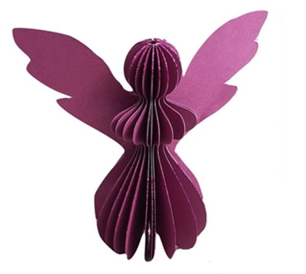 Papier-Engel dunkel rosa/rot mit Glitzer (12,5 cm) - Fairtrade