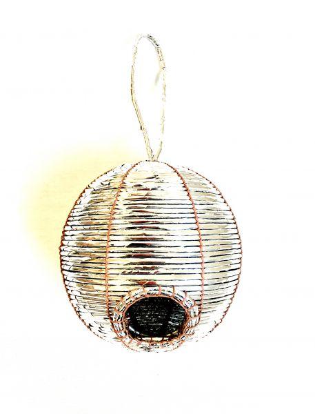 Vogelhaus Nistkasten Kugel Silber Aus Sussigkeitenpapier O 17 Cm