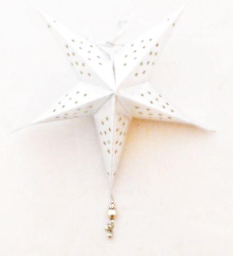 Weihnachtsstern silber mit Perlen aus Papier- Fairtrade