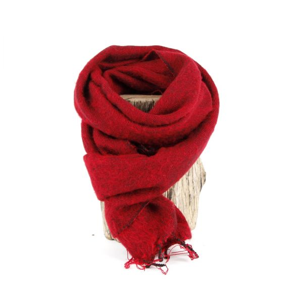 kleiner Melange-Schal dunkel rot - Fair Trade