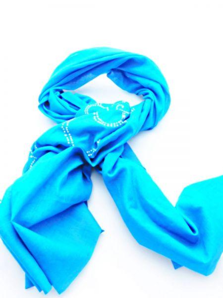 Tuch, Schal oder Tischdecke Baumwolle/blau mit weißem Muster - Fair Trade