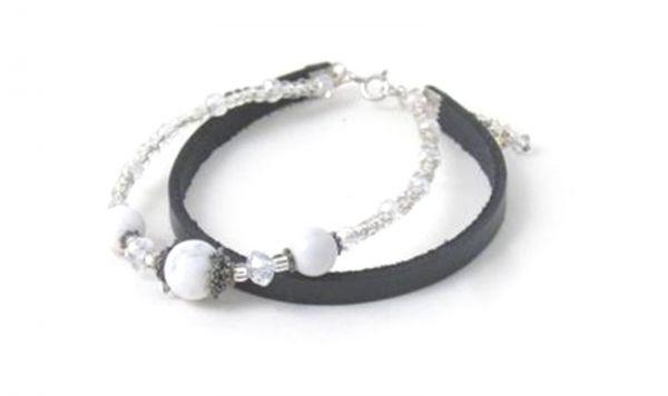 2-reihiges Armband Tranquility mit Jade, Silber und Leder - Fairtrade