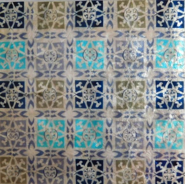 Wandkachel Capiz blau/weiß/grün - Fairtrade