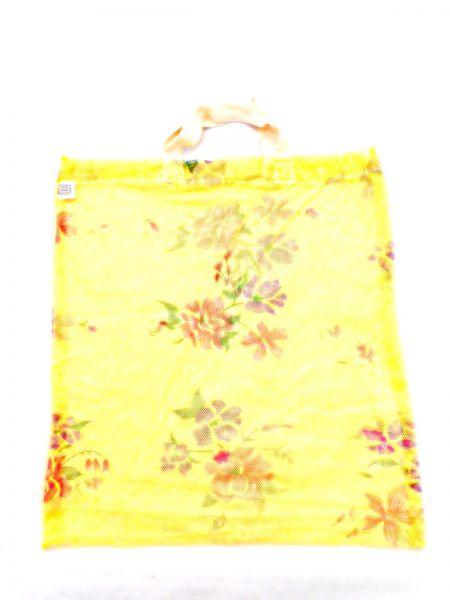 Moskitonetz-Tasche gelb mit Blumen- upcycling - Fair Trade