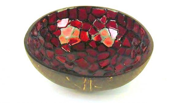 Kokosschüssel rot mosaik - Fair Trade