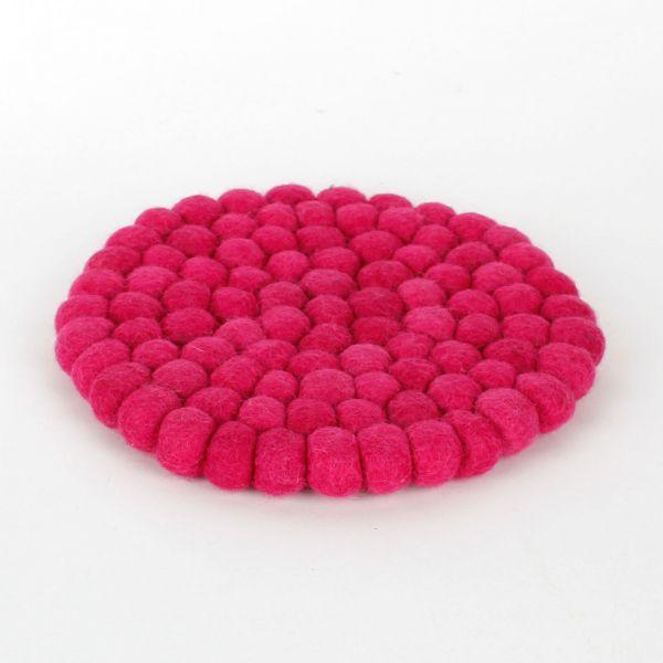 Topf-Untersetzer aus Filzkugeln- Cerise pink Ø 20 cm - Fairtrade