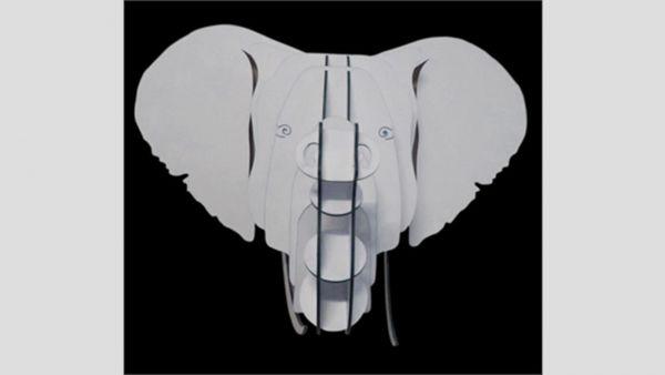 Wanddeko Elefant Tierkopf silber aus Papier - Fairtrade