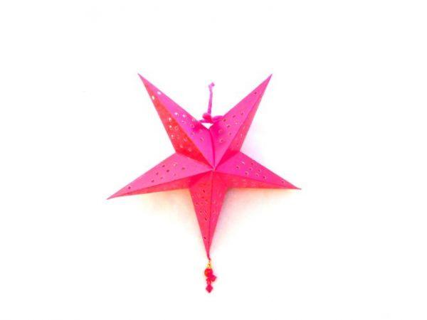 Weihnachtsstern rosa mit Perlen aus Papier- Fairtrade