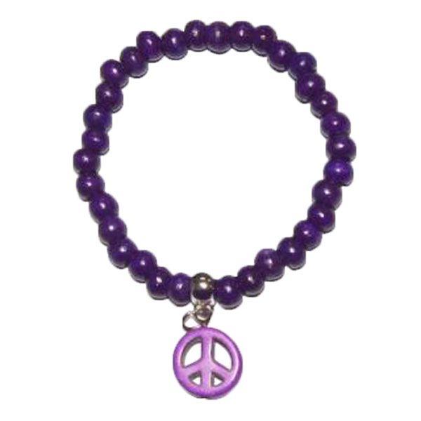 lila Armband aus Holzperlen mit PEACE-Zeichen - Fair Trade