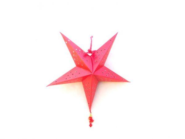 Weihnachtsstern rot mit Perlen aus Papier- Fairtrade