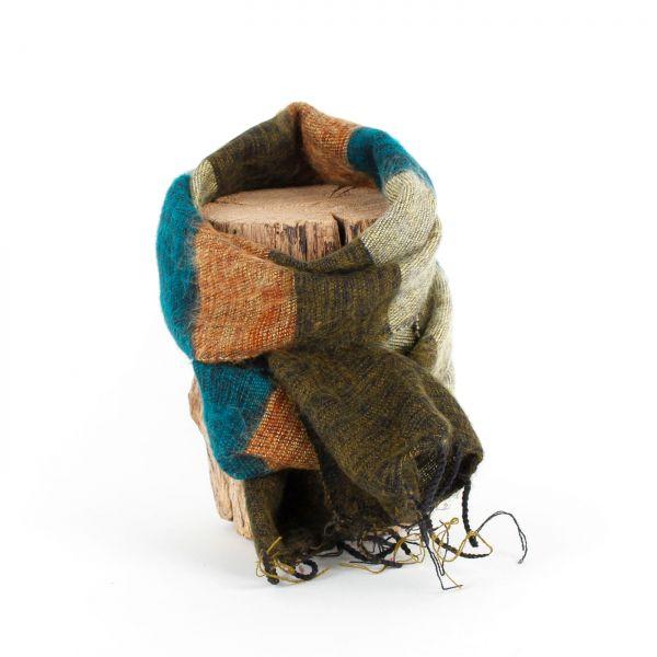 kleiner Melange-Schal gestreift grün-braun - Fair Trade
