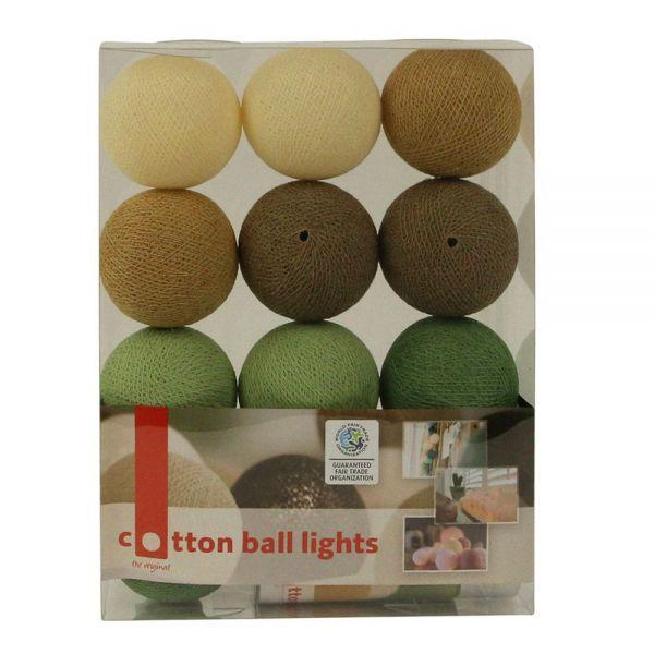 Lichterkette mit Bällen aus Baumwolle (Cotton Ball Lights) creme, braun, grün, minze - Fairtrade