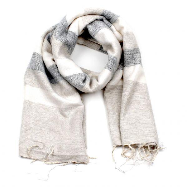 Melange-Schal gestreift creme natur grau - Fair Trade