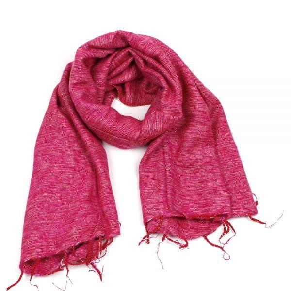 Melange-Schal fuchsia pink/weiß - Fair Trade