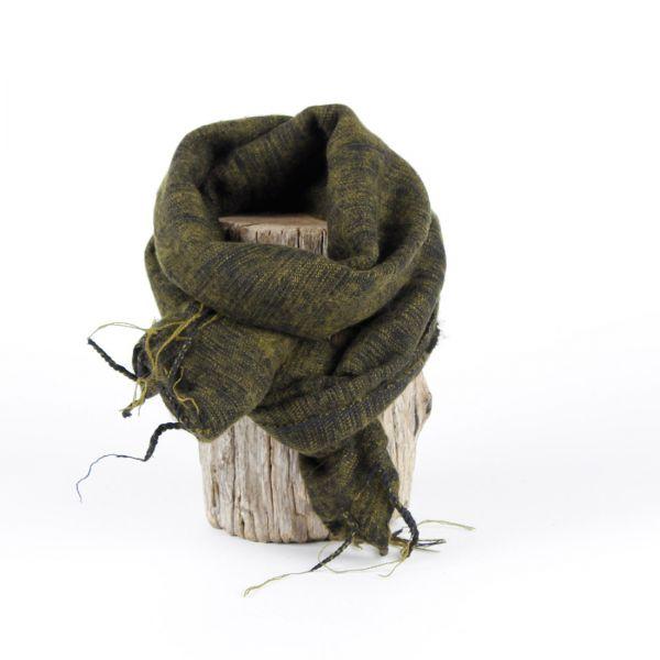 kleiner Melange-Schal dunkel grün-schwarz - Fair Trade