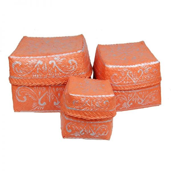 3-Set Boxen orange aus Bambus - Fair Trade