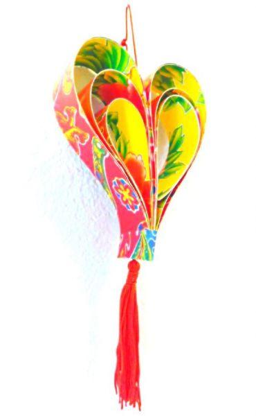 Herz-Anhänger rot aus recyceltem Glückspapier 2D - Fair Trade