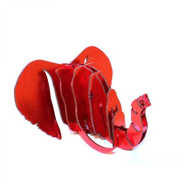 Wanddeko Elefant Tierkopf (12.5X12,5X6.25 cm) rot XS- Fairtrade