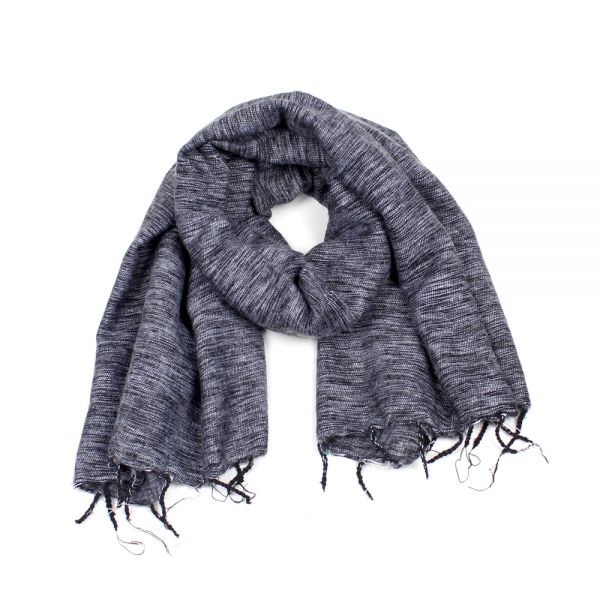 Melange-Schal grau (schwarz/weiß) - Fair Trade