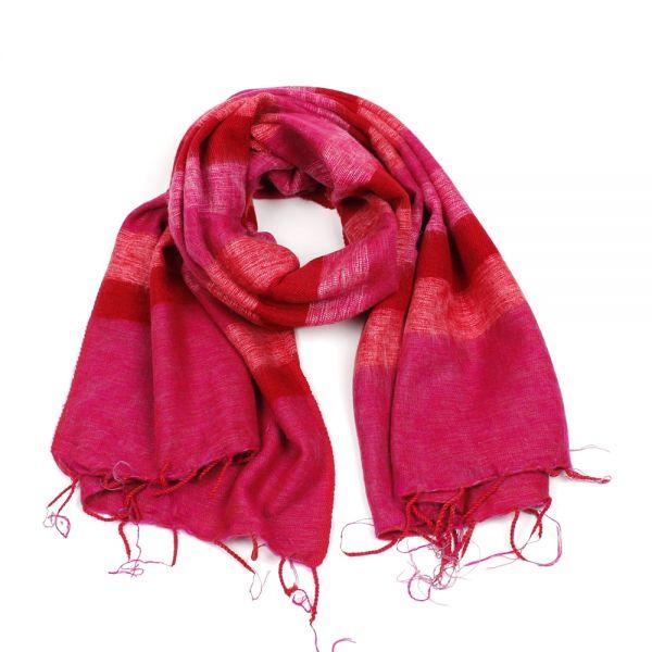 Melange-Schal gestreift fuchsia pink rot - Fair Trade