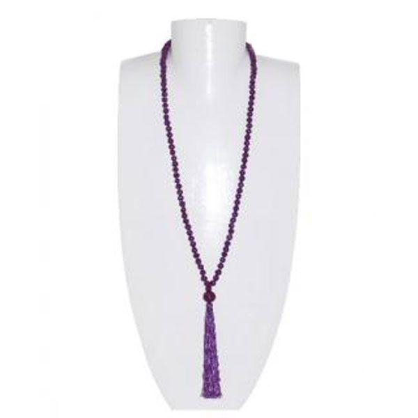 lila Halskette aus Holzperlen mit Quaste - Fair Trade
